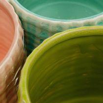 Sierpotten met mandpatroon, plantenbak, keramiek plantenbak mint / groen / roze Ø13cm 3st