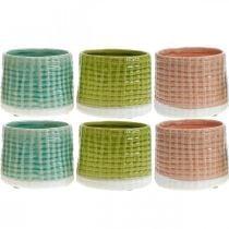 Keramiek plantenpot, mini plantenpot, keramische decoratie, sierpot, mandpatroon mint / groen / roze Ø7,5cm 6st