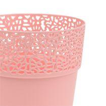 Decoratieve pot plastic roze Ø13cm H13.5cm 1p