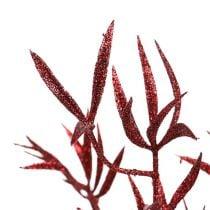 Decoratieve tak rood met mica 69cm 2st