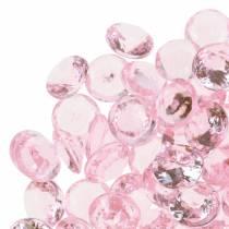Decoratieve stenen Diamant Acryl Licht roze Ø1,2cm 175g voor verjaardag decoratie