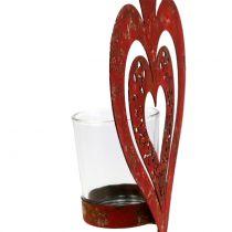 Decoratief hart met windlicht H26cm