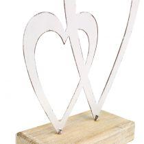 Dubbel hart wit op voet H18cm