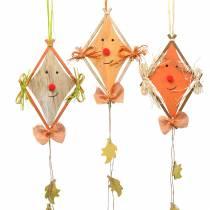 Herfstdecoratie draak om op te hangen 20cm x 13cm 3st