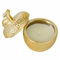 """Geurkaars """"Spiced Apple"""" in appel juwelendoosje goud Ø7,2cm H8,5cm"""