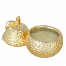 "Geurkaars ""Magnolia & Pear Blossom"" in een gouden sieradendoosje Ø7.4cm H9cm"