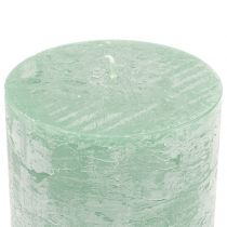 Effen gekleurde kaarsen lichtgroen 50x100mm 4st