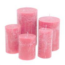 Gekleurde kaarsen roze verschillende maten
