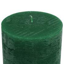 Effen gekleurde kaarsen donkergroen 50x100mm 4st