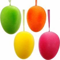 Paaseieren voor het ophangen van kleurrijke, gevlokte eieren, Pasen, lentedecoratie 8st