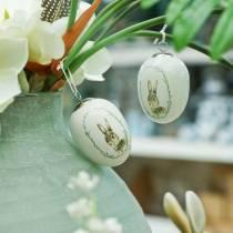 Ei voor het ophangen van keramisch wit konijn Ø5.5cm H7.6cm 12st