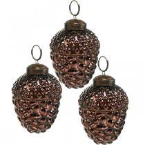 Acorn glas bruine decoratieve kegels voor het ophangen van adventsversiering 5,5 × 8 cm 12st