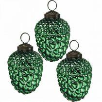 Acorn glas groen herfstdecoratie kegels kerstboomversiering 5,5 × 8cm 12st