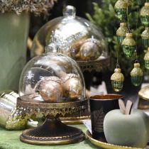 Decoratieve hanger eikel, herfstfruit, kerstboomversiering met gouden decor H8cm Ø6cm 4st