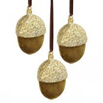 Eikels om op te hangen, advent, boomdecoratie, herfstdecoratie H6.5cm Ø4cm 6st