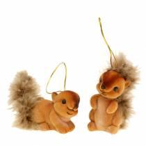 Herfstdecoratie eekhoorn bruin set van 2