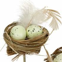 Decoratieve plug vogelnest, paasdecoratie, nest met eieren 23cm 6st