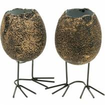 Eierschaal voor opplant met pootjes, paasei, ei met vogelpootjes, paasdecoratie zwart goud 4st