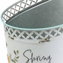Decoratieve emmer met bloemenornament en gezegde metaal Ø27cm H50.5cm