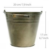 Metalen pot, emmer voor planten, plantenbak Ø20cm H17cm