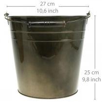 Metalen vat, plantenemmer, metalen decoratie Ø27cm H25cm