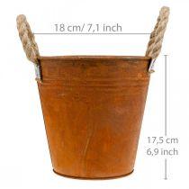 Bloempot met patina, metalen vat, herfstdecoratie Ø18cm H17.5cm