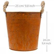 Plantenbak met handvatten, plantenbak, metalen bak met roestdecoratie Ø25cm H24cm