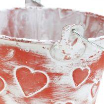 Decoratieve emmer hart decor, metalen vat, Valentijnsdag, hengsel emmer Ø12cm
