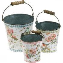 Metalen emmer vintage look, lentedecoratie, plantenemmer, metalen decoratie H15 / 11 / 9.5cm set van 3