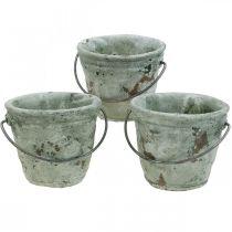 Emmer voor opplant, keramisch vat, decoratie emmer, antieke optiek Ø11.5cm H10.5cm 3st