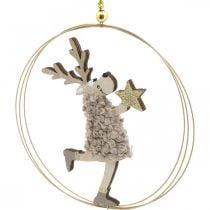 Rendier om op te hangen, Kersthanger, Adventsdecoratie in een ring Ø15cm, set van 3