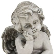 Decoratieve engel in grijs zittend 13.5cm 2st