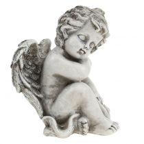 Herdenkingsfiguur slapende engel grijs 16cm 2st