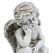Engel zittend grijs 11cm 4st