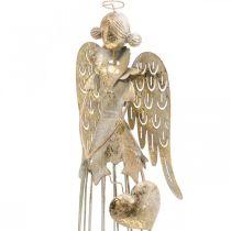 Engel figuur met hart, kerstversiering van metaal, decoratie engel antiek-goud H38cm