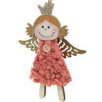 Engelen om op te hangen, kerstversiering, kerstboomversiering roze/roze/blauw/wit H12cm set van 4
