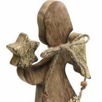 Houten engel met ster natuur, gouden mangohout H20.5cm