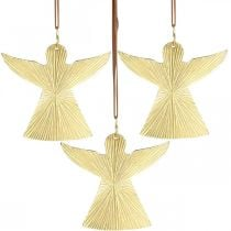Decoratieve engel, metalen hanger, kerstdecoratie gouden 9 × 10cm 3st