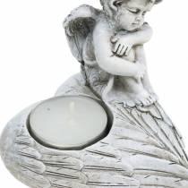 Ernstige sieraden theelichthouder engel 10cm 2st