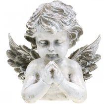 Bidden engel, begrafenis bloemisterij, buste van engel figuur, grafdecoratie H19cm B19.5cm
