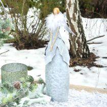 Decoratief engelenfiguur met veren boa grijs metalen decoratie Kerstmis 38cm