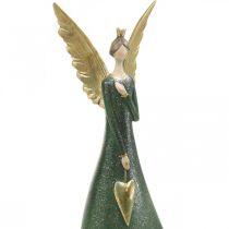 Decoratiefiguur engel groen kerstengel met gouden hart H41cm