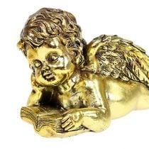 Engel met boek liggend goud 11-13cm 4st