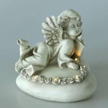 Decoratieve engel op hart met LED 16cm 19cm H14.5cm