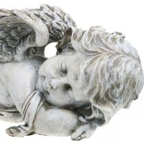 Grafdecoratie engel slapend Graf engel grijs polyresin 39 × 14x13cm