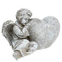 Engel met hart grijs 11,5 cm × 9 cm × 6,5 cm 2 stuks