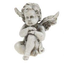 Engelenfiguren grijs 9cm 3st