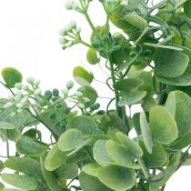 Bruiloftsdecoratie Kunstmatige eucalyptustakken met bloemen Decoratief boeket groen, wit 26cm