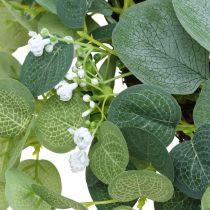 Sierkrans eucalyptus groen witte bloemen kunst Ø45cm