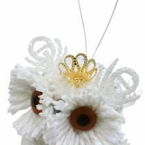 Decoratieve uil met kroon om op te hangen wit, glitter 6,5 × 8cm 6st.